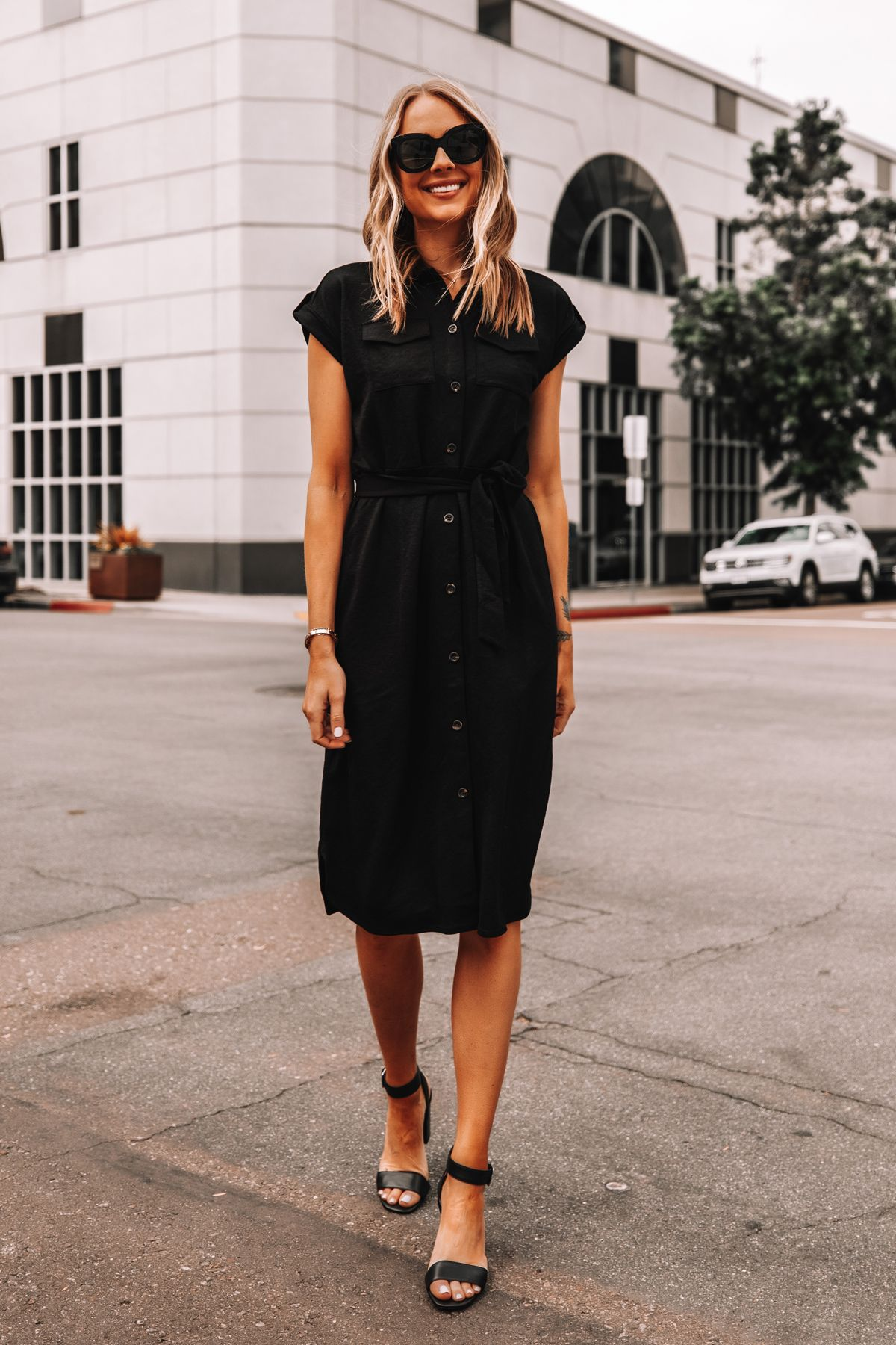 Fashion Jackson Wearing Ann Taylor Black Belted Shirt Dress Black Sandals Workwear Outfit 2 Summer Work Dresses Summer Dress Outfits Casual Dress Outfits [ 1800 x 1200 Pixel ]