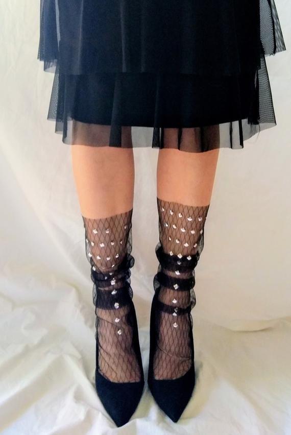 6329e2840 Tulle Socks. Sheer Black Rhinestone Sparkle Socks. Christmas Gift in ...