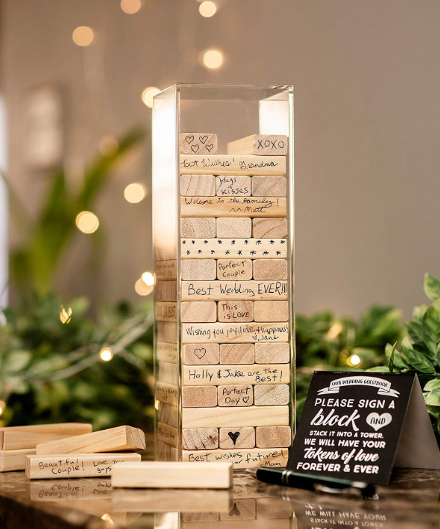 Wedding Guest Book Alternative Wooden Guestbook Signature Rustic Wood Blocks In 2020 Jenga Wedding Guest Book Jenga Wedding Wedding Guest Book Table