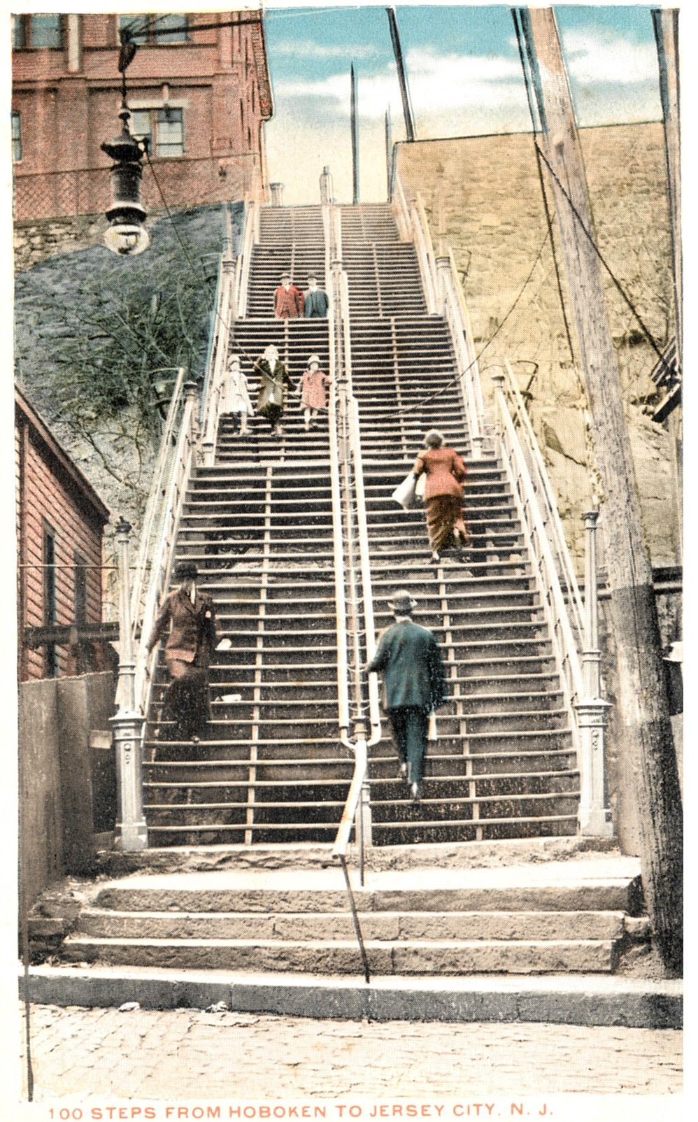 """THE """"100 STEPS"""" FROM HOBOKEN TO THE JERSEY CITY HEIGHTS,ca EARLY 1900'S."""