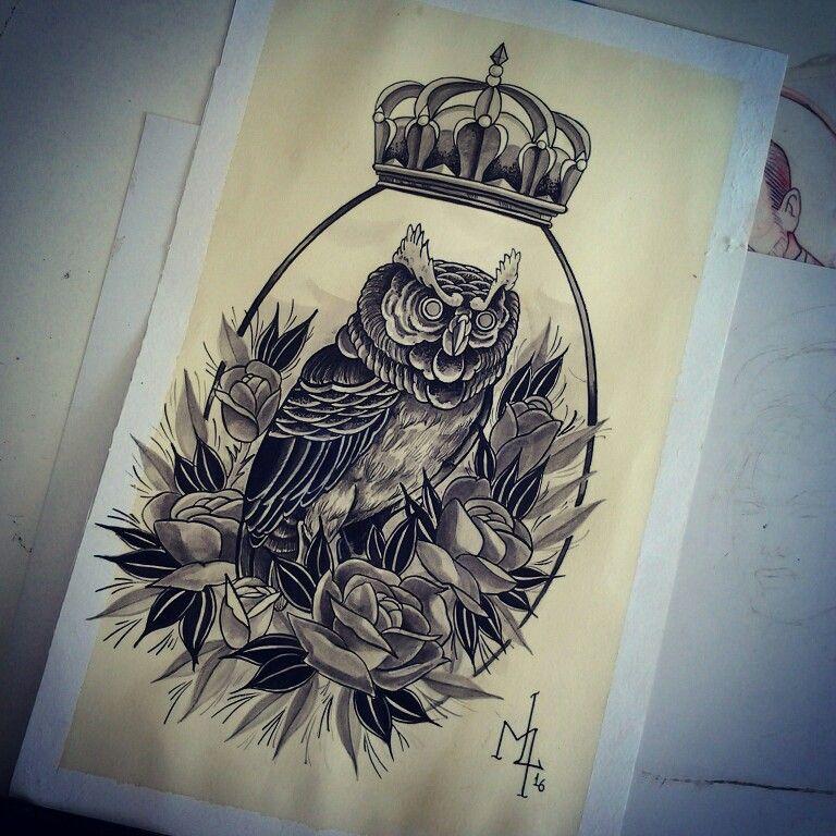 Dharma Tattoo, coruja coroa rose flower rosetattoos black tattoo