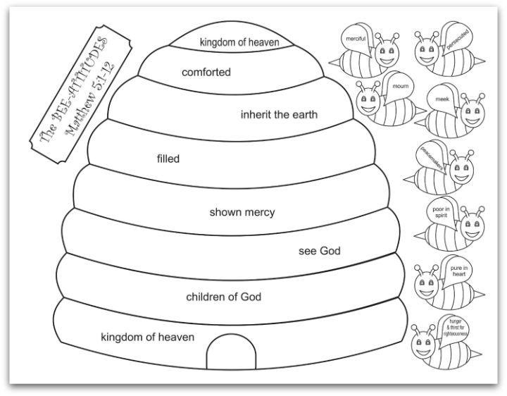 Bee Attitudes Matthew 5:1-12 Printable | paper craft | Pinterest ...