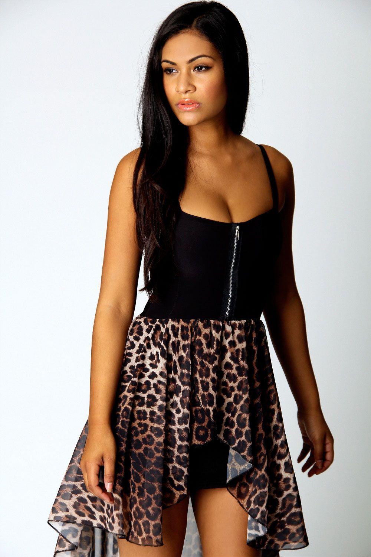 Sophia Leopard Skirt Mixi Dress at boohoo.com