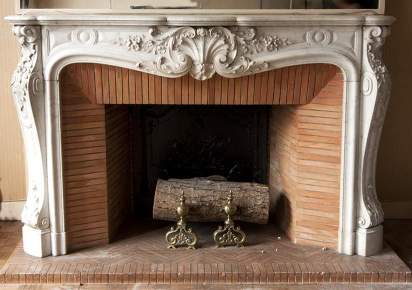 Antique Louis Xv Style Fireplace Very Carved Made Out Of Carrara Marble Marble Rustic Fireplaces Fireplace Wood Fireplace