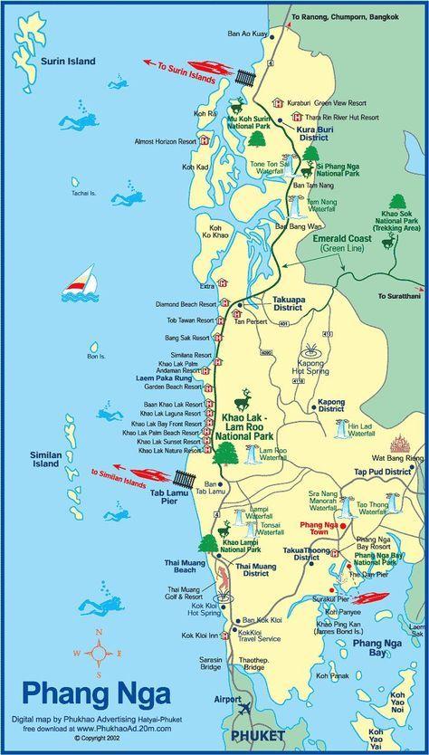 Map Of Phang Nga Thailand And Hotels Phamg Khao Lak