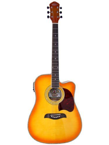 Oscar Schmidt Og2ce Dreadnought Cutaway Acoustic Electric Guitar Flame Yellow Sunburst Oscar Schmidt Htt Best Acoustic Guitar Acoustic Electric Guitar Guitar