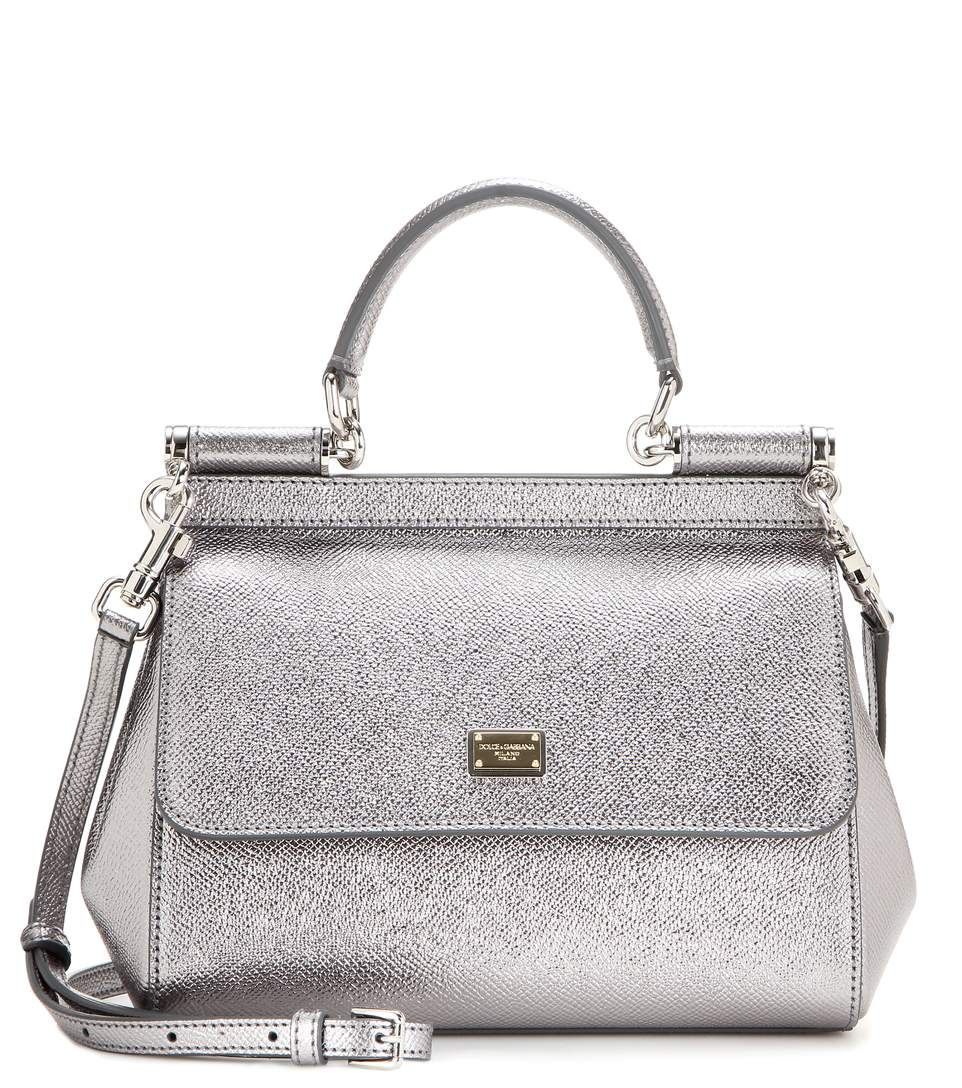 1613bc505d DOLCE   GABBANA Miss Sicily Small Metallic Leather Shoulder Bag.   dolcegabbana  bags  shoulder bags  leather  lining  metallic
