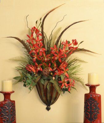 Vertical Wall Sconce | Silk flowers, Flower arrangements and Wall ...