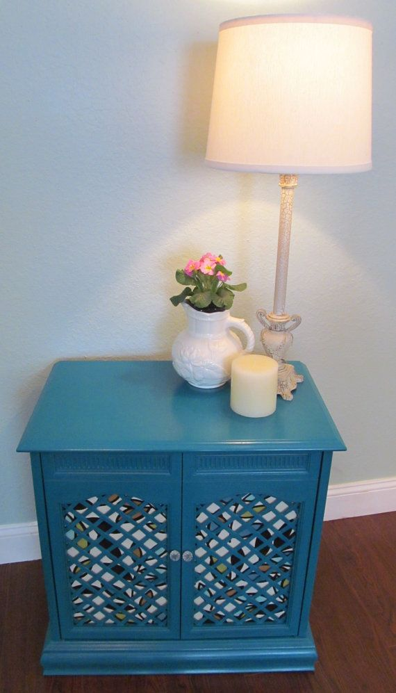 SOLD   Turquoise Lattice Storage Cabinet, Bedside Table, End Table With  Flocked Fabric,