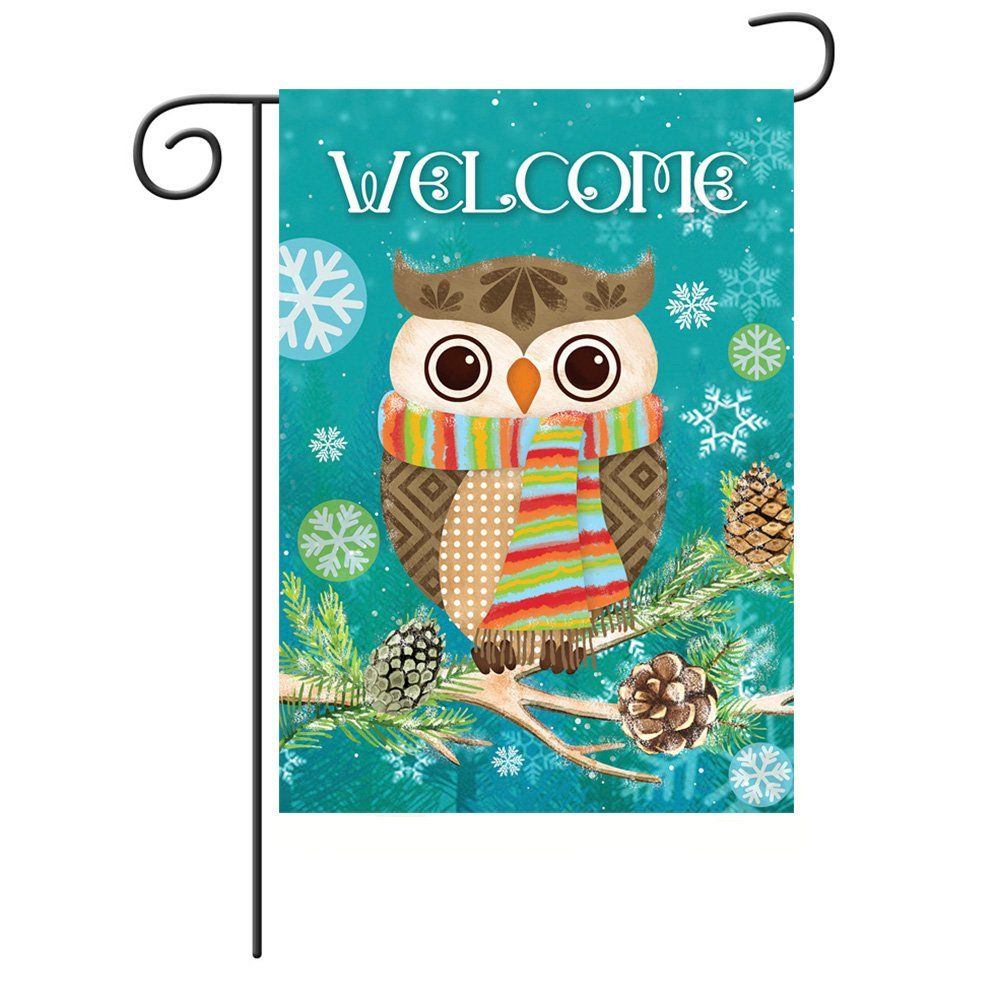 Cute Owl Christmas Holly Winter Double Sided Garden Flag Christmas Owls Christmas Holly Cute Owl