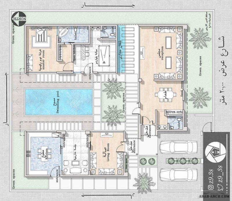 تصميم شاليه مودرن بالمدينة 304 متر مربع من أعمال المهندس يحيى زنقوطي Square House Plans Architectural Floor Plans House Floor Plans
