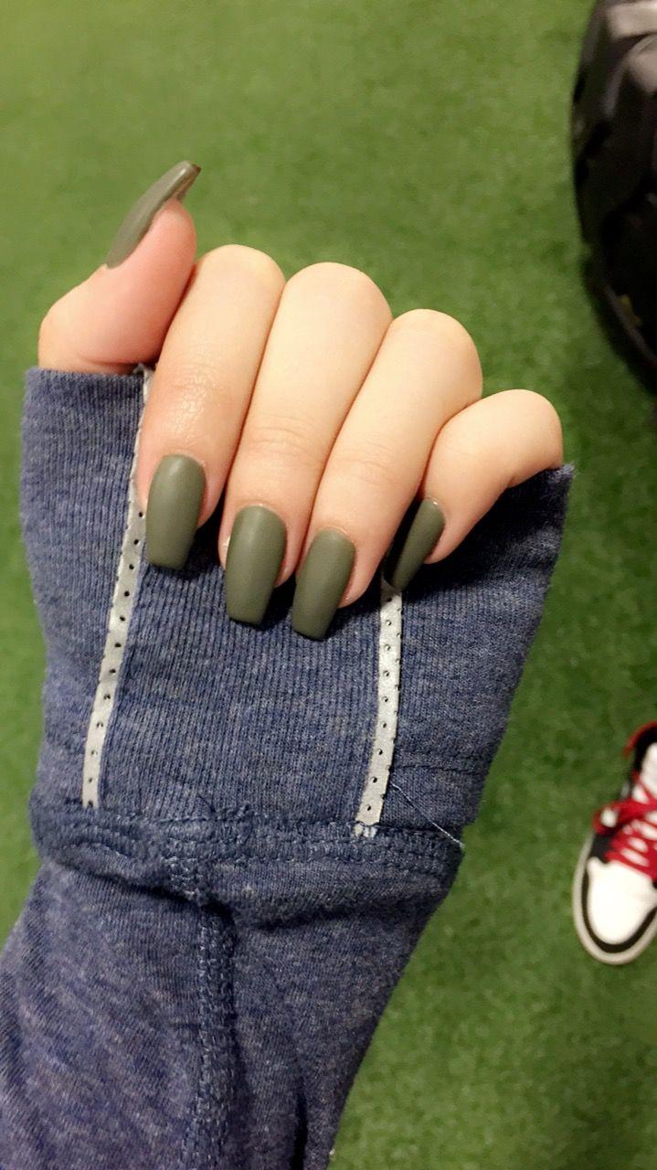 Olive Green Coffin Nails #olive #matte #nails #nailswag #nailideas ...