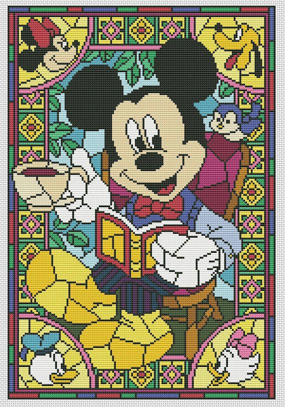 Disney Cross Stitch Pattern Quot Mickey Mouse Quot In Pdf Stained