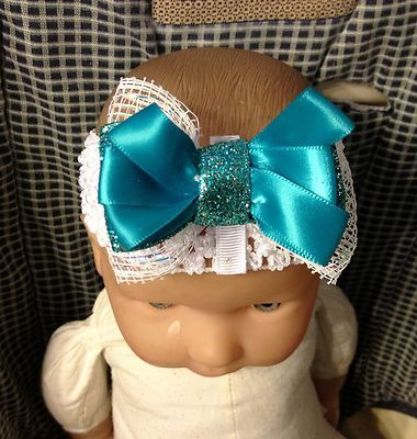 Teal White Glitter Hair Bow on an Alligator Clip