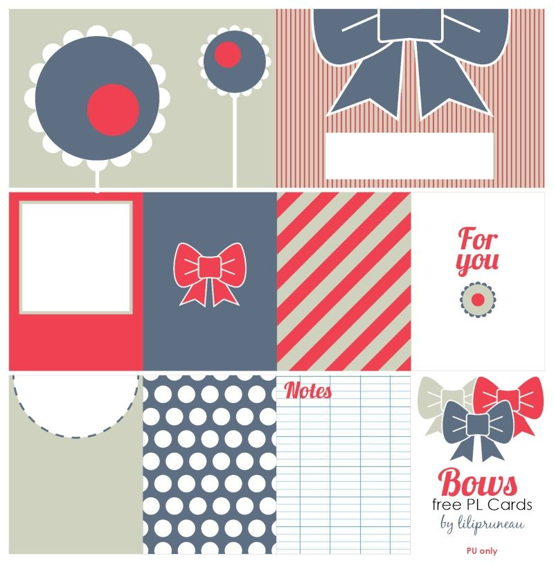 Free Bows Journal Cards for Project Life from Le blog de Lilipruneau