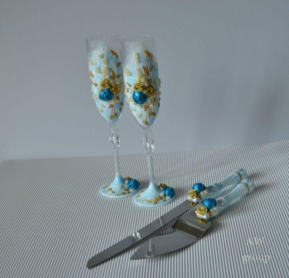 Sky Blue & Gold Wedding Flutes Cake Server Set Wedding Toasting flutes Champagne glasses Cake Cutting Set Wedding Cake Knife Handmade by ArtWeddingGroup on Etsy
