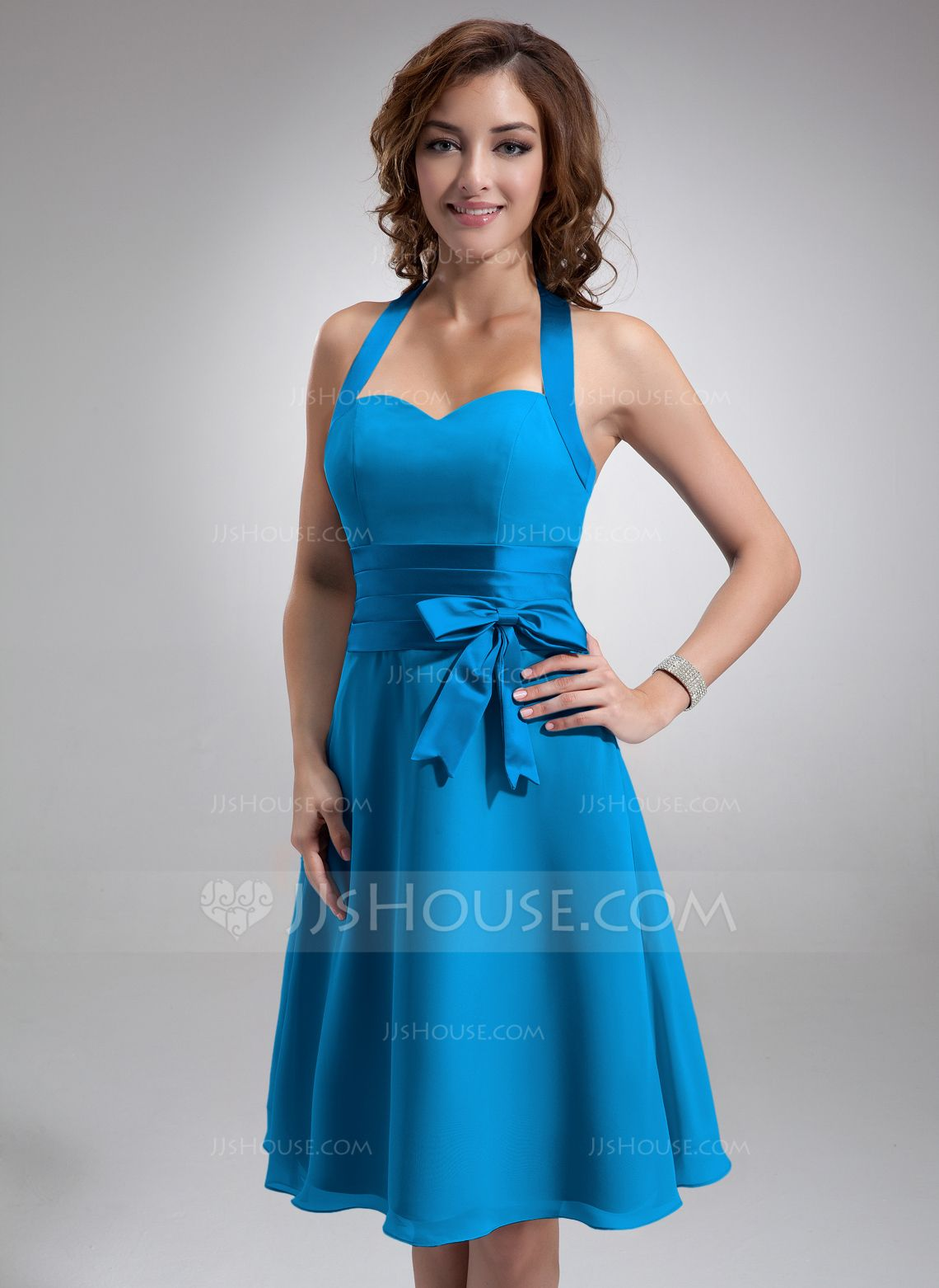 Alineprincess halter kneelength chiffon satin bridesmaid dress