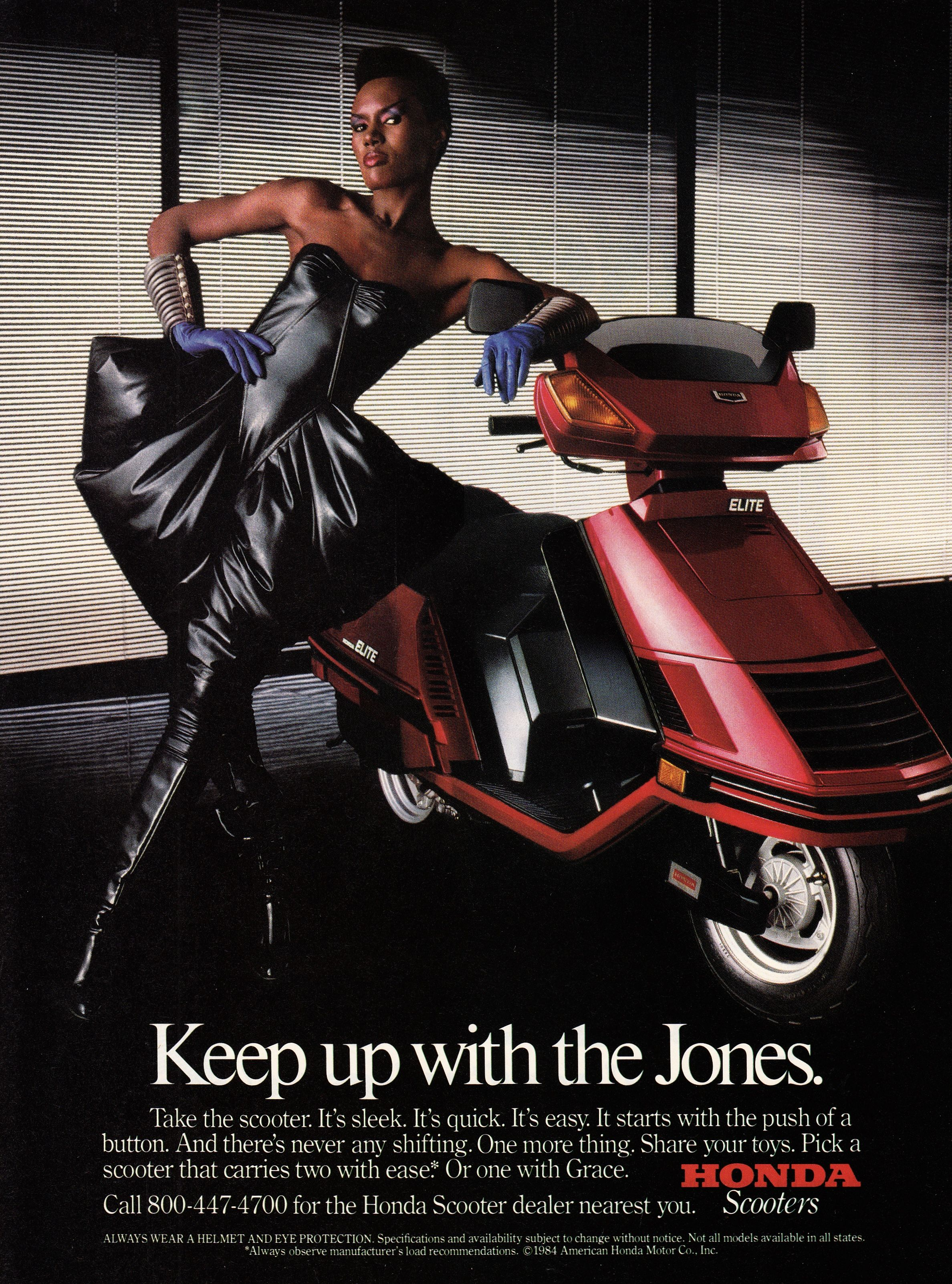 Grace jones for honda scooters 1984