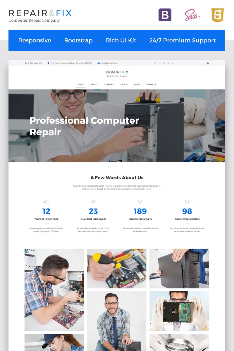 Repair Fix Computer Repair Company Html5 Website Template Website Template Computer Repair Repair