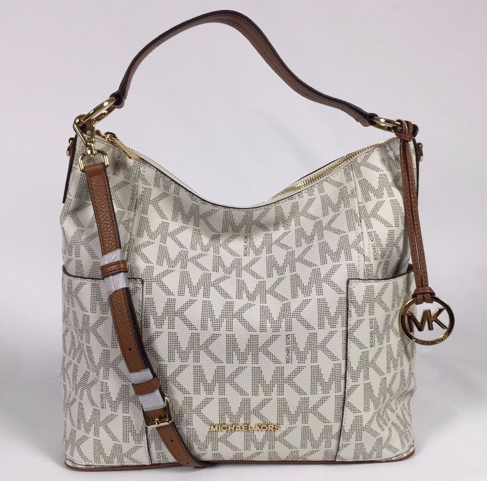 01e9666a8da3 NWT MICHAEL KORS SIGNATURE PVC ANITA LARGE CONVERTIBLE SHOULDER BAG VANILLA   MichaelKors  ShoulderCrossbodyBag