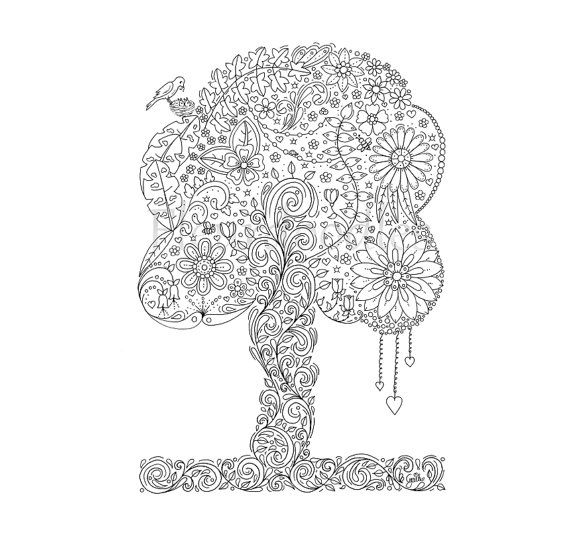 adult coloring page - Doodle Tree 2 - adult colouring pages, floral ...