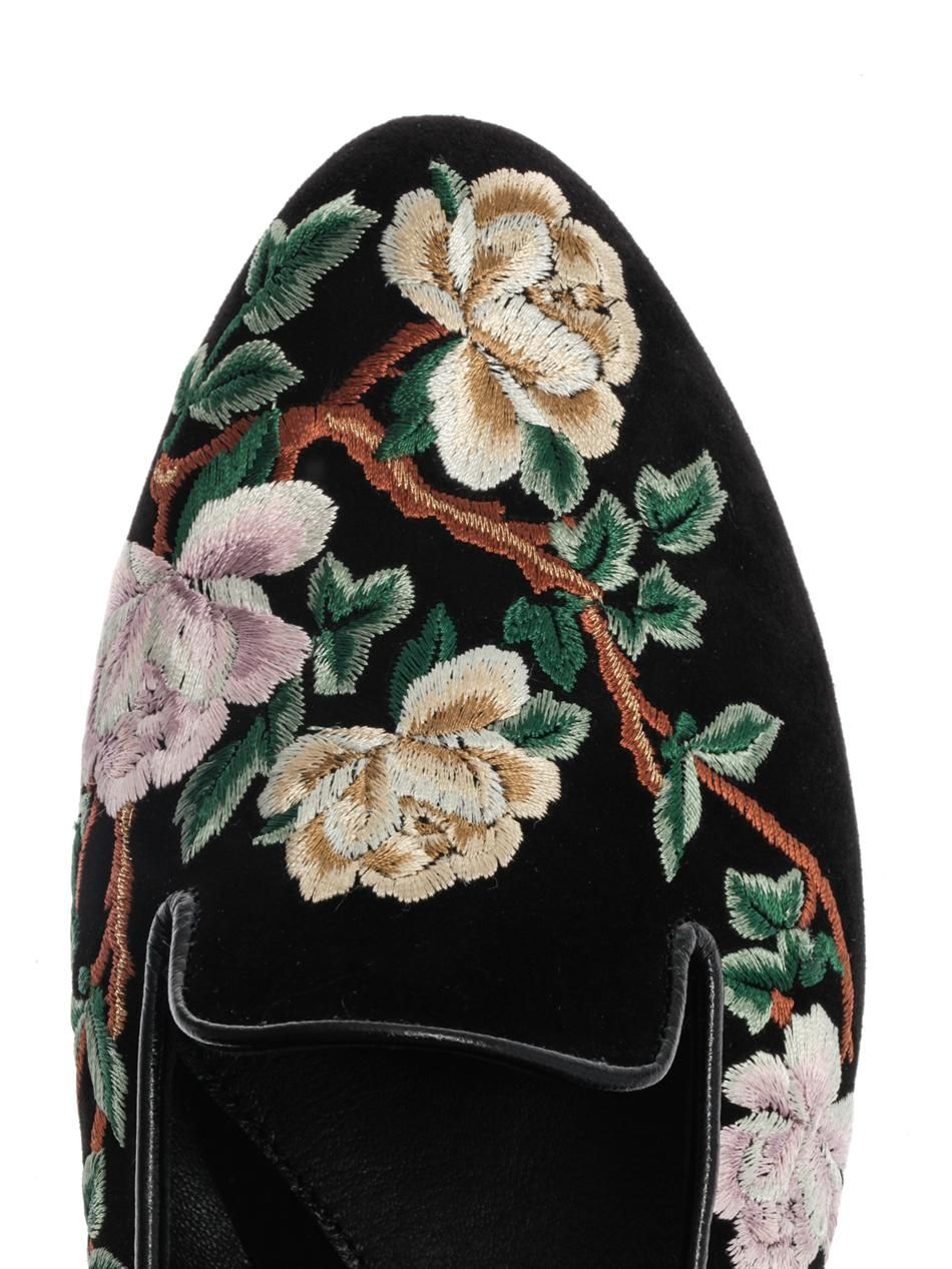 Alexander McQueen Floral embroidered suede slippers