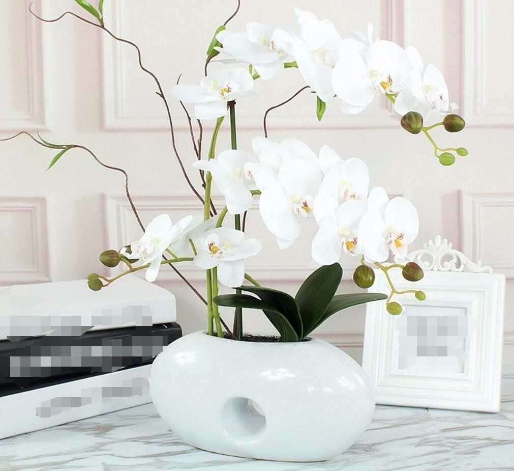 XHOPOS HOME Artificial Plants Artificial Flowers Orchid Ceramic ...