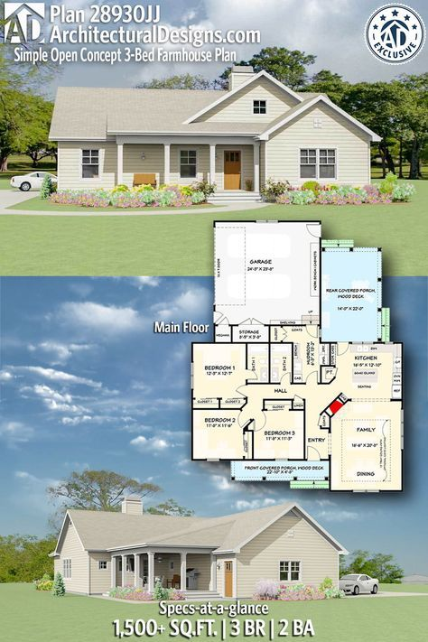Photo of Plan 28930JJ: Simple Open Concept 3-Bed Farmhouse Plan