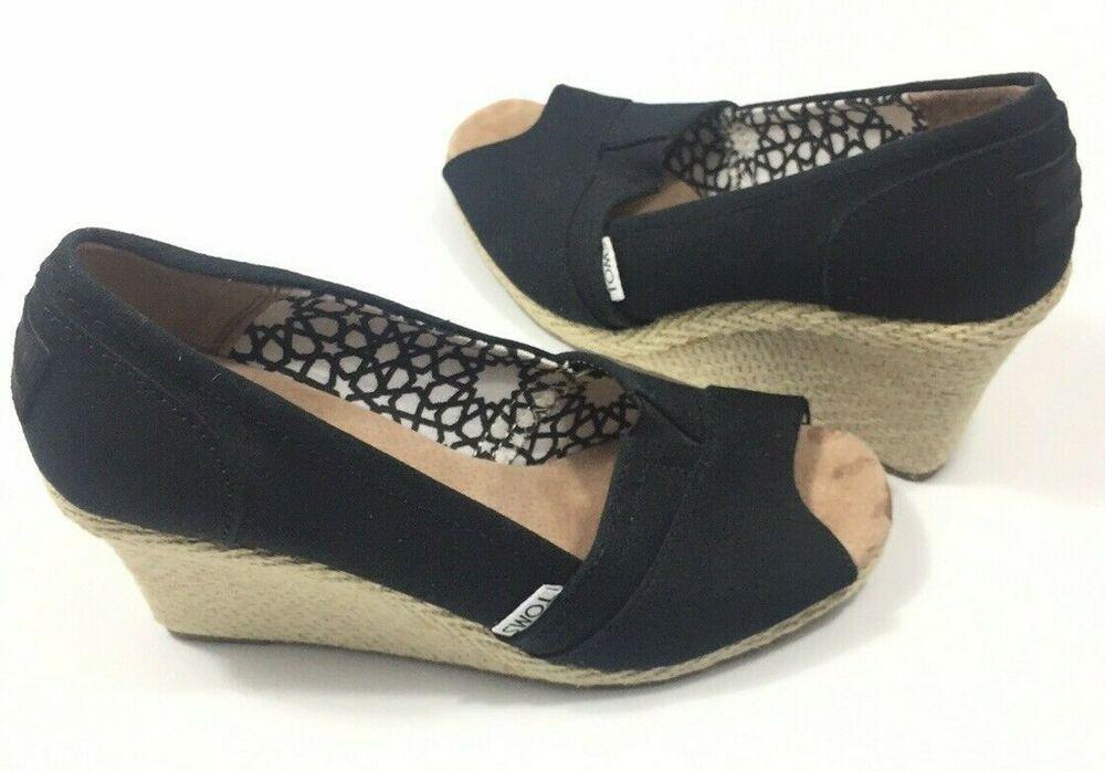 286cab479e5 Toms 6.5 Peep Toe High Heel Platform Wedge Black Canvas Slip On ...