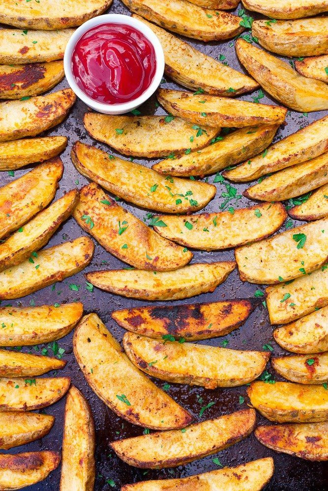 Oven Baked Potato Wedges Recipe - Nora Cooks   - Things I like to try -