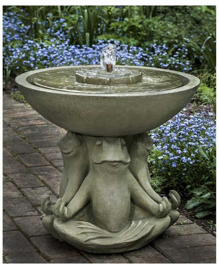 Outdoor Frog Fountain Bird Bath Garden Water Fountains