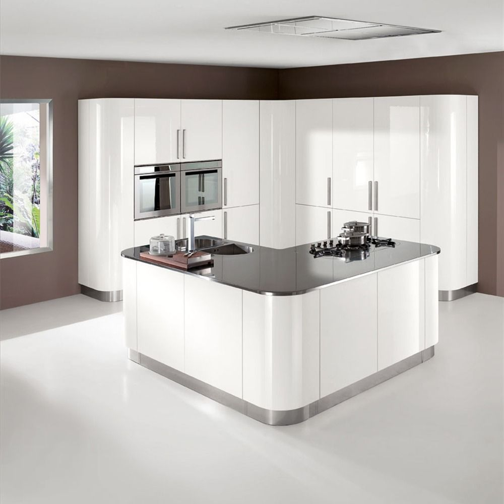 Curved tall bank of units louise 39 s kitchens pinterest for White gloss tall kitchen units