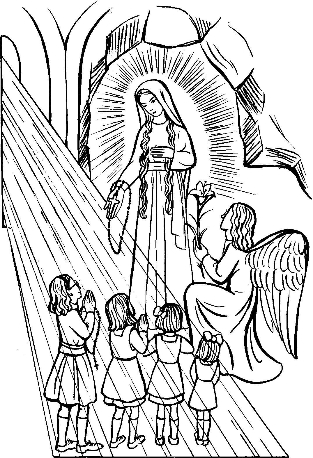 Our Lady of the Rosary Catholic Coloring Page Feast day is October 7 ...