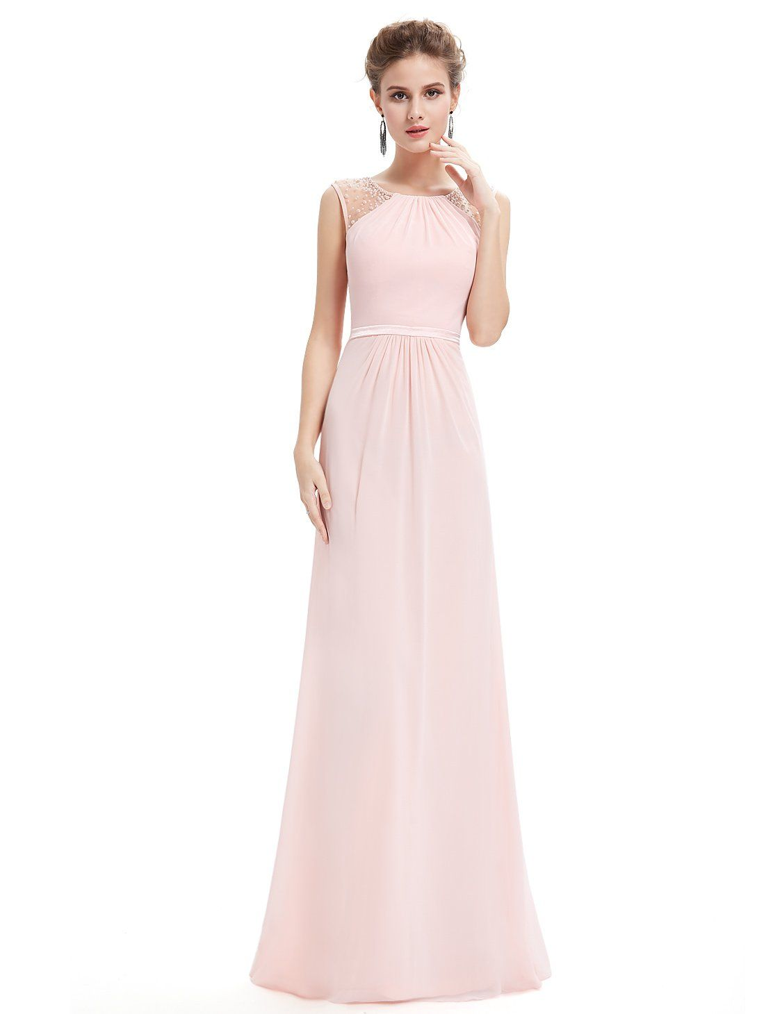 Robe cocktail longue pastel