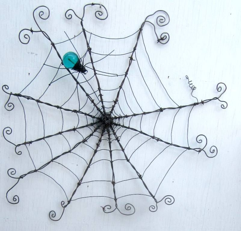 Reserved Custom Order Barbed Wire Spider Web With Teal Spider | Wire ...
