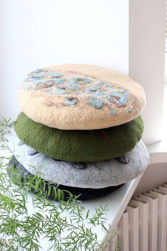 Seats Pillow Beige Chair Pillow Felted Wool Cushion Floor