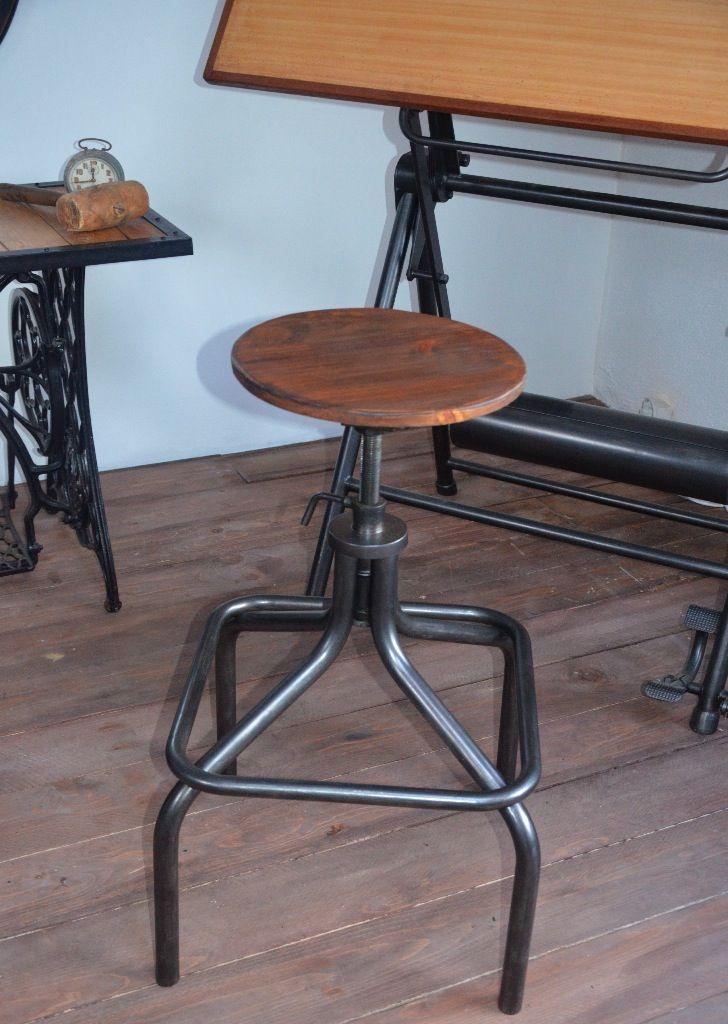 Tabouret Bois Mtal Industriel Chaise Atelier Vintage Usine