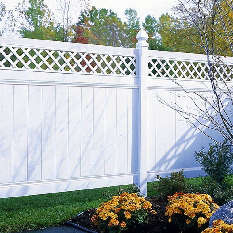 I Want Our Fence To Look Something Like This Only Probably In The Natural Wood Color Vinyl Fence Backyard Fences Vinyl Privacy Fence Good Neighbor Fence