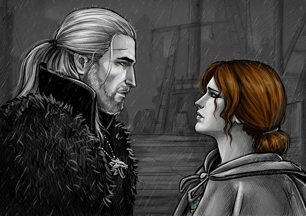 Geralt and Triss farewell by Anastasia Kulakovskaya (Witcher)