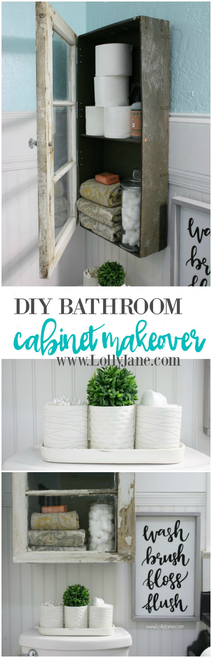 You've got to check out this diy bathroom cabinet! It's made from an old trunk lid and window!? So dang cute! Great makeover idea! Love these bathroom storage solutions and bathroom accessories too!