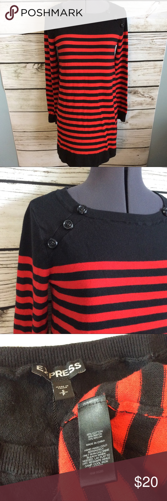 f72235a2f4 Express sweater dress s red black tunic stripe Pre owned