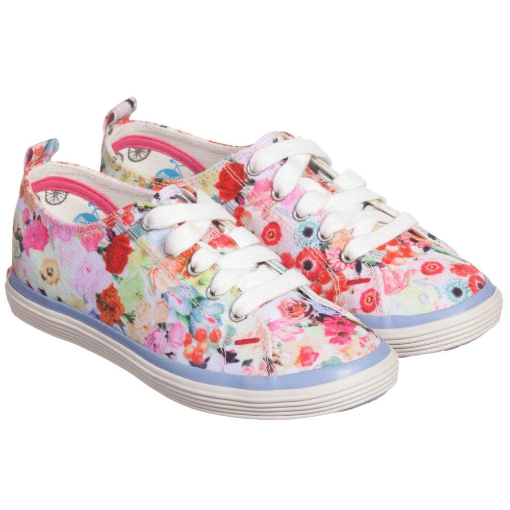 946611e4 Paul Smith Junior Girls Pink 'Collage Floral' Canvas Trainers at ...