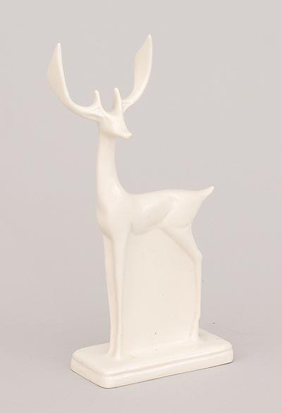 White glazed earthenware sculpture of a deer design Chris van der Hoef 1928 executed by Plateelbakkerij Zuid-Holland Gouda / the Netherlands