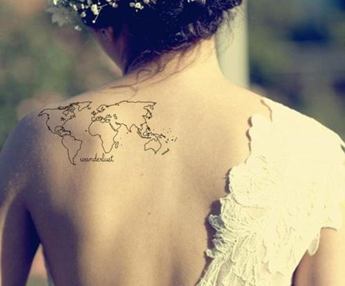 Wanderlust shoulder world map globe tattoo girl woman lady small wanderlust shoulder world map globe tattoo girl woman lady small black gorgeous beautiful ink inspiration gumiabroncs Image collections