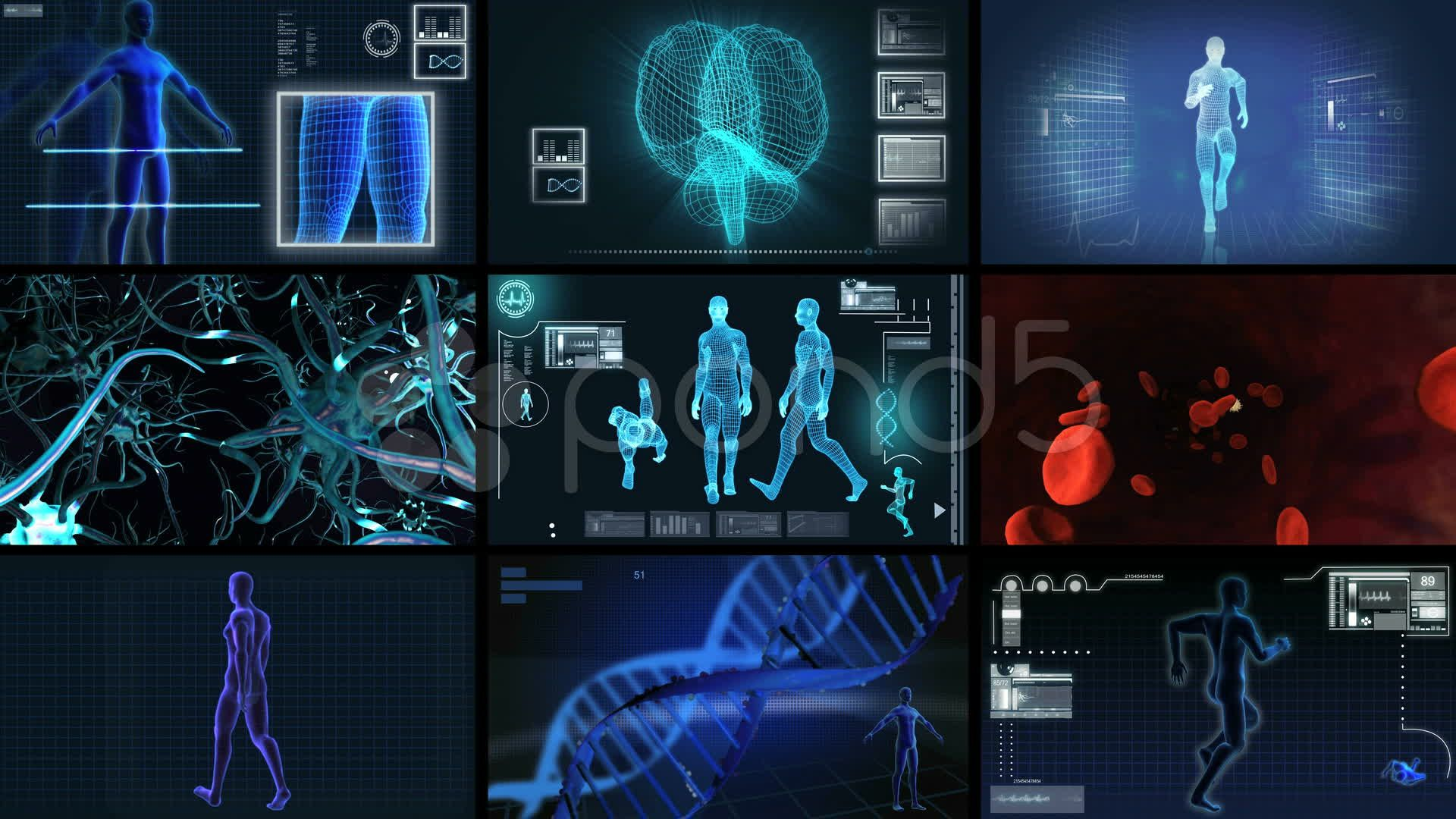 Montage 3D Medical Scientific Research Stock Footage,