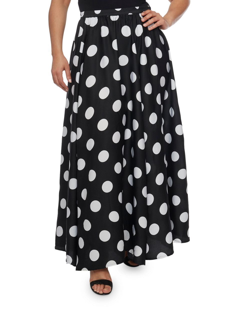 5eb121ea98c3 Plus Size Polka Dot Maxi Skirt