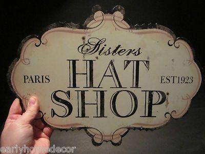 Primitive Vintage Antique Style Tin Hat Shop Folk Art Trade Merchant Sign Vintage Hat Boxes Hat Shop Funky Hats