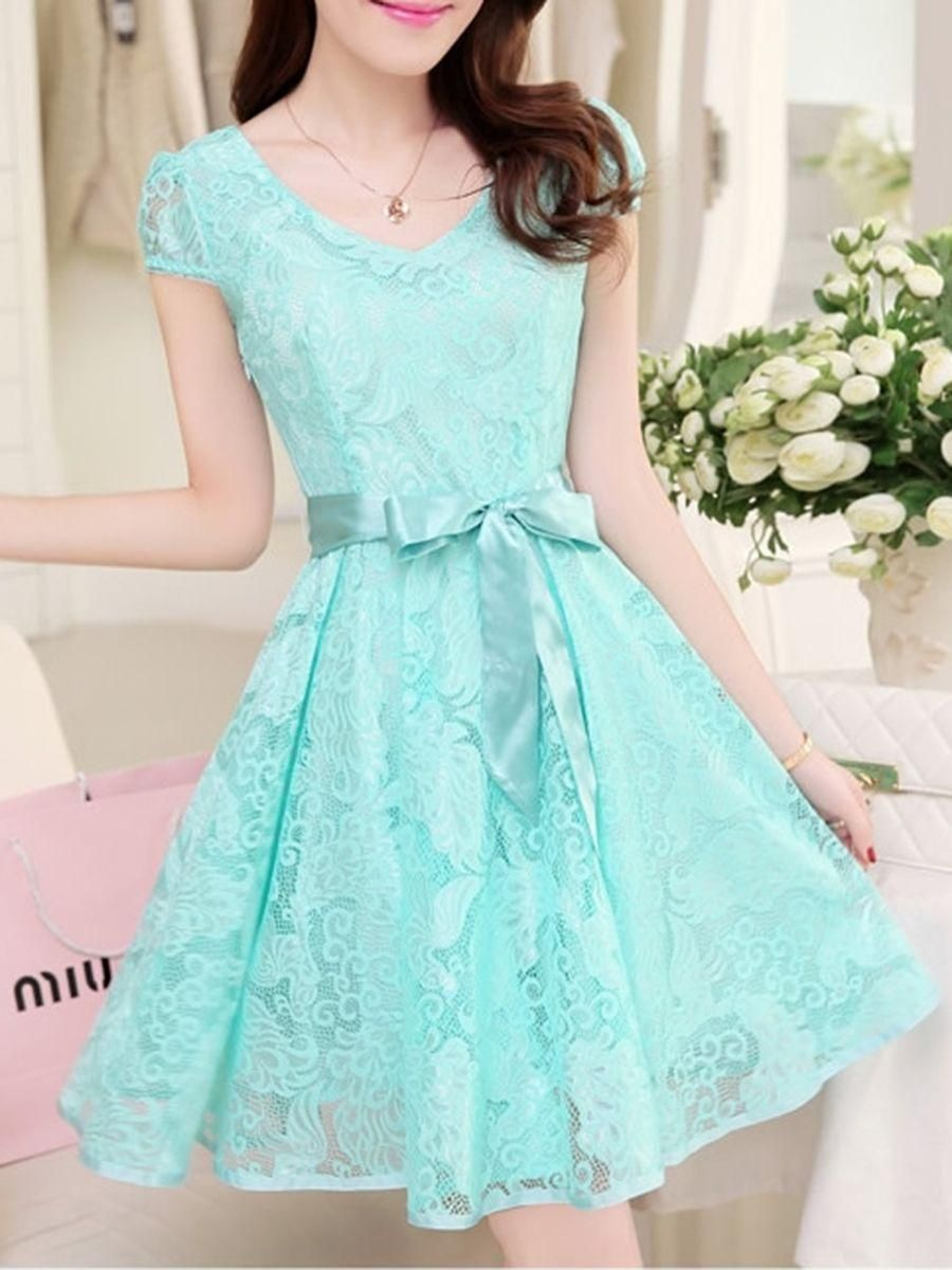 Captivating vneck bowknot hollow out plain lace skater dress