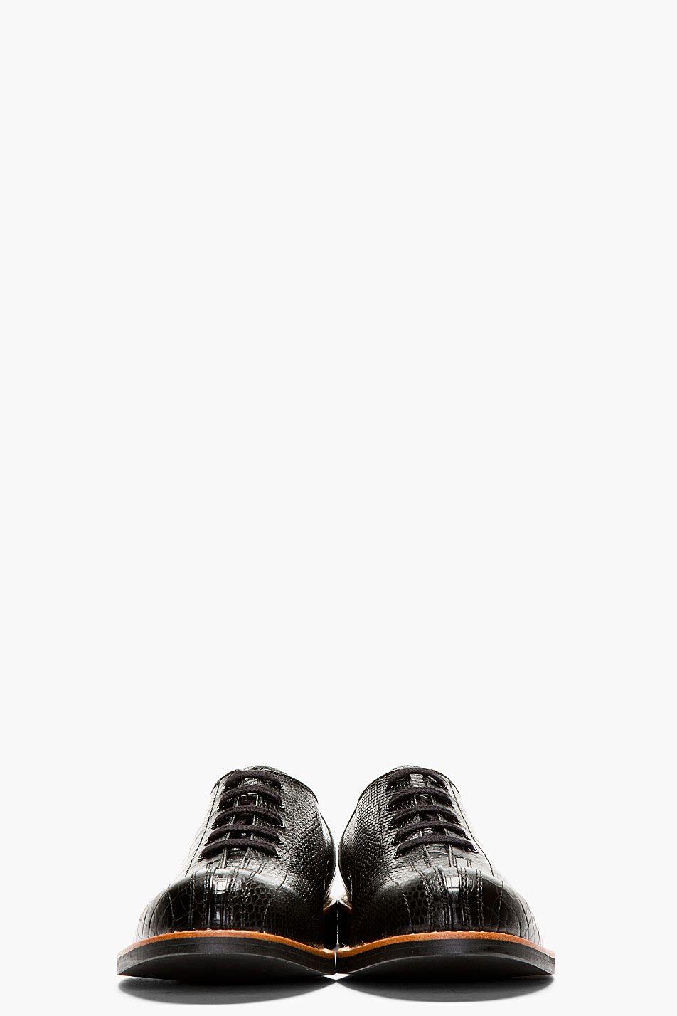 53e9bc8412d2b4 COMME DES GARÇONS HOMME PLUS Black Crocodile-Embossed Bowling Shoes ...