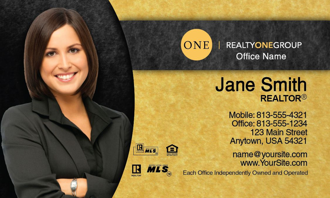 Gold Pattern Realty One Group Business Card Template Realty One
